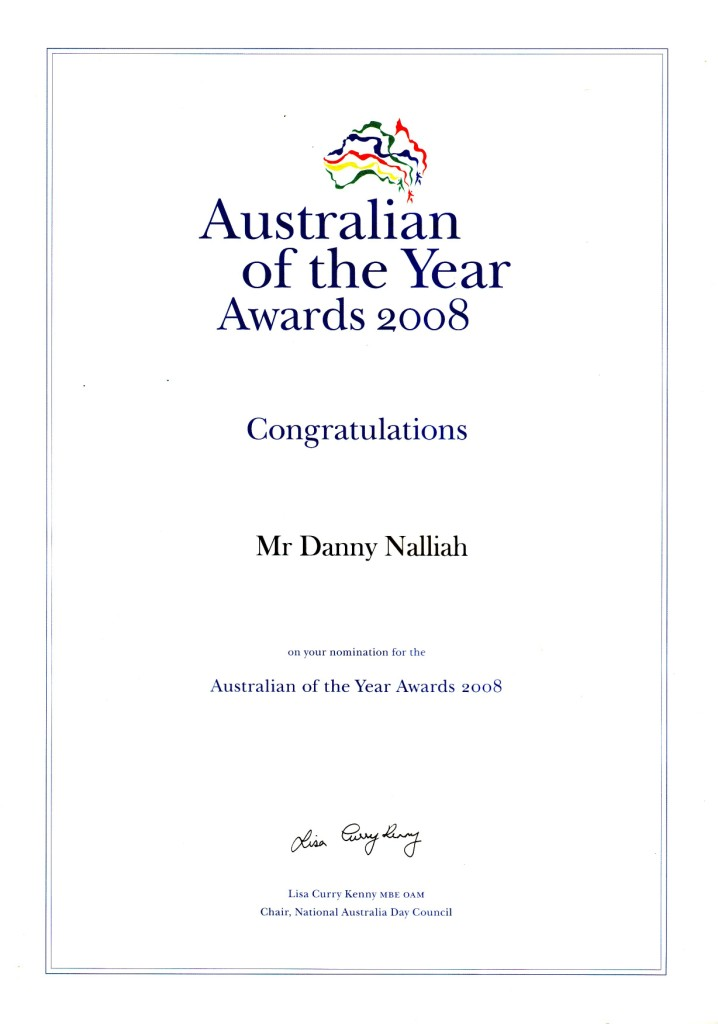 Australian of the Year 2008 Nomination Award for Pastor Danny