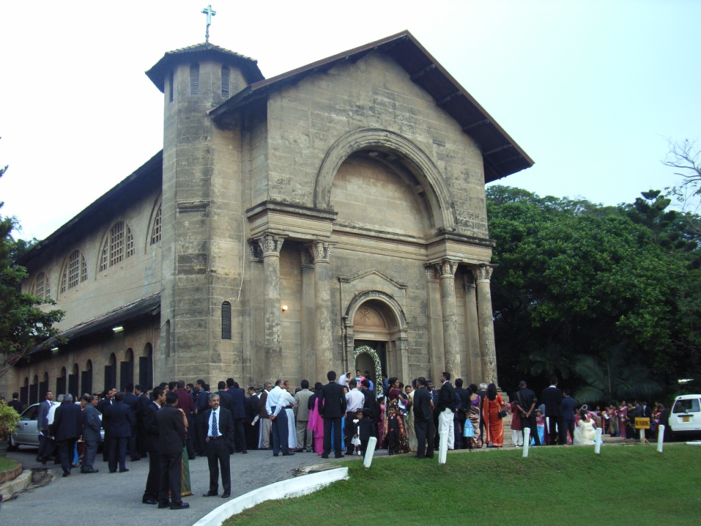 People Gather at the Church for the Wedding in Sri Lanka