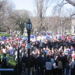 Assembling At Treasury Gardens Before The March