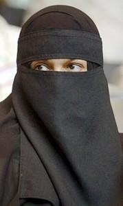 Islamic women wearing Burqa (face-covering)