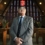 Mosman Mayor Dominic Lopez inside the RNS chapel
