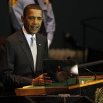 President Barack Obama addresses the United Nations Climate Change Summit, Tuesday, Sept. 22, 2009, at the United Nations