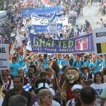 Thousands of Christians Marching in Support through Jerusalem, Israel