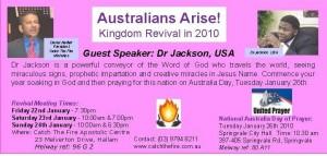 Australians Arise!  Kingdom Revival in 2010!