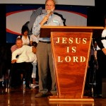 Bill Muelenberg from Culturewatch leading God's people in Lord's prayer