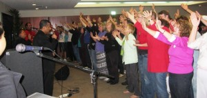 Worshipping the Lord at the altar