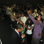 Praying at the altar