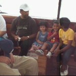 Ps Daniel, Maryse, Brianna, and children on Sea of Galilee boat ride