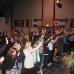 Everyone surrendering to Jesus at altar