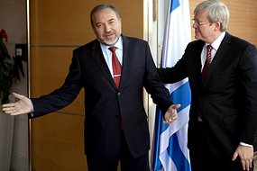Avigdor Liberman meets with Kevin Rudd in Jerusalem