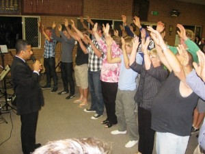 Young Footy players and others surrender to Jesus in Culcairn, NSW