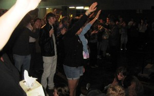 Many Youth and Young Adults receive ministry at the altar