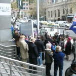 Some of the supporters and media at VCAT at 55 King St in Melbourne