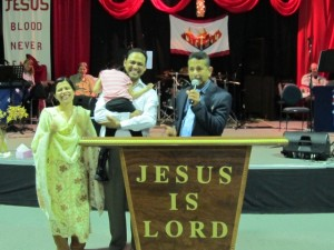 The family rejoicing with Pr Daniel
