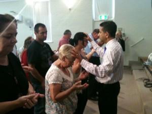 Ministering at altar