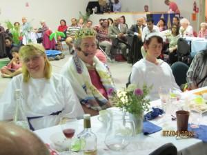 Participants in the play enjoying fellowship