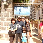 Pr Daniel and his family at entrance to Capernaum Town where Jesus grew up