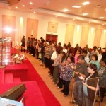 Altar call at combined churches revival meeting in Toronto, Canada