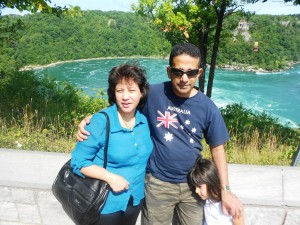 Pr Daniel, wife Maryse and daughter Brianna at whirlpool at Niagara Falls