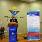 Kevin Smith introducing Pr Daniel in Mildura at RUAP public meeting