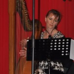 Julie on harp