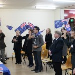 RUAP MC Gary Hannie leading Australia's National Anthem at Seaford meeting