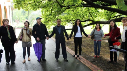 Prayer meeting at Fitzroy Gardens in Melbourne