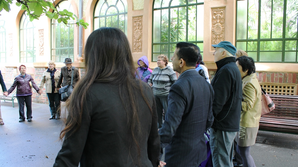 Prayer meeting at Fitroy Gardens in Melbourne