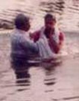 Automatically I knelt down before Him. I confessed before the Lord Jesus and accepted Him as my personal Savior and Lord, said Sayujya. (Photo Sayujya being baptized PCM)