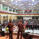 Preaching at Christmas Crusade in Indonesia