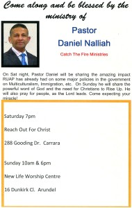 Pr Daniel ministering in Gold Coast on Sat 8th & Sat 9th Feb 2014