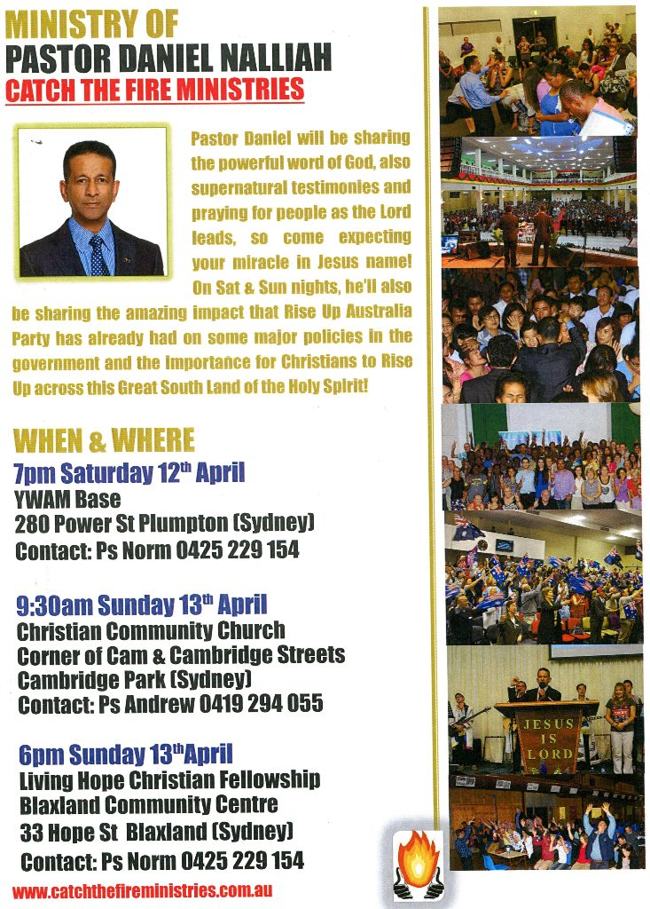 Pr Daniel ministering in Sydney on Sat 12th - Sun 13th April