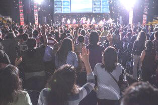Crowds worship at the Istora stadium