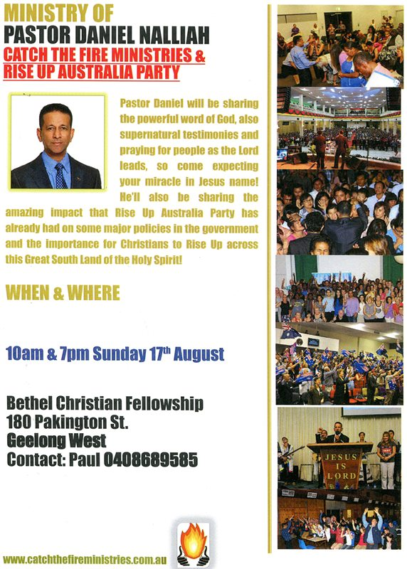 Pr Daniel ministering in Geelong on Sun 17th Aug 2014