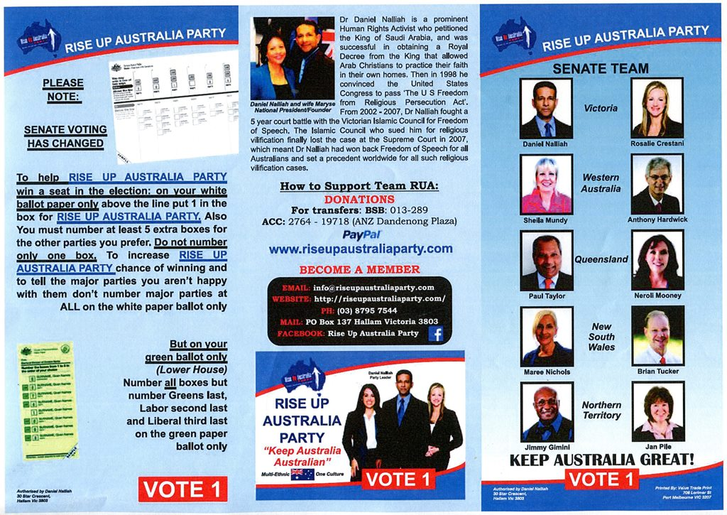 Rise Up Australia Political Party Brochure For Distribution At Catch