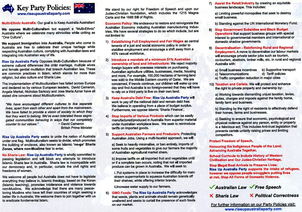 Rise Up Australia  Rise Up Australia Political Party Brochure For